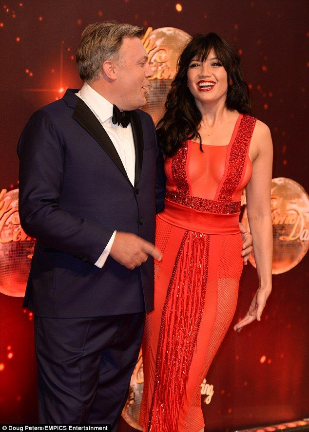 Daisy shares a joke with fellow contestant Ed Balls at thelaunch of Strictly Come Dancing 2016 at Elstree Studios in Hertfordshire