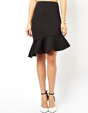 Image 4 ofASOS Pencil Skirt in Scuba With Peplum Hem