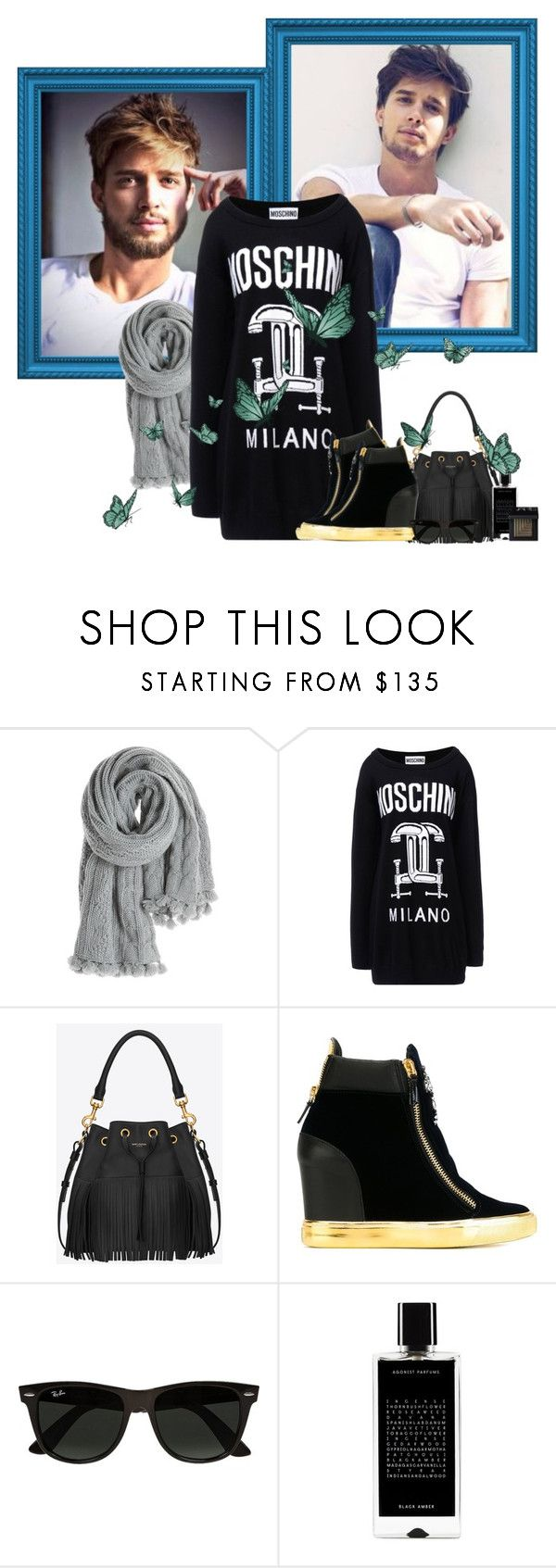 """""""Drew Van Acker"""" by avenged7x ❤ liked on Polyvore featuring Calypso St. Barth, Moschino, Yves Saint Laurent, Giuseppe Zanotti, Ray-Ban, Agonist and NARS Cosmetics"""