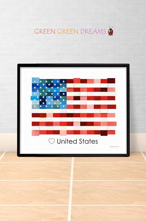 American Flag Print Poster Wall art America US State flags USA printable download Home Decor Digital Print gift GreenGreenDreams