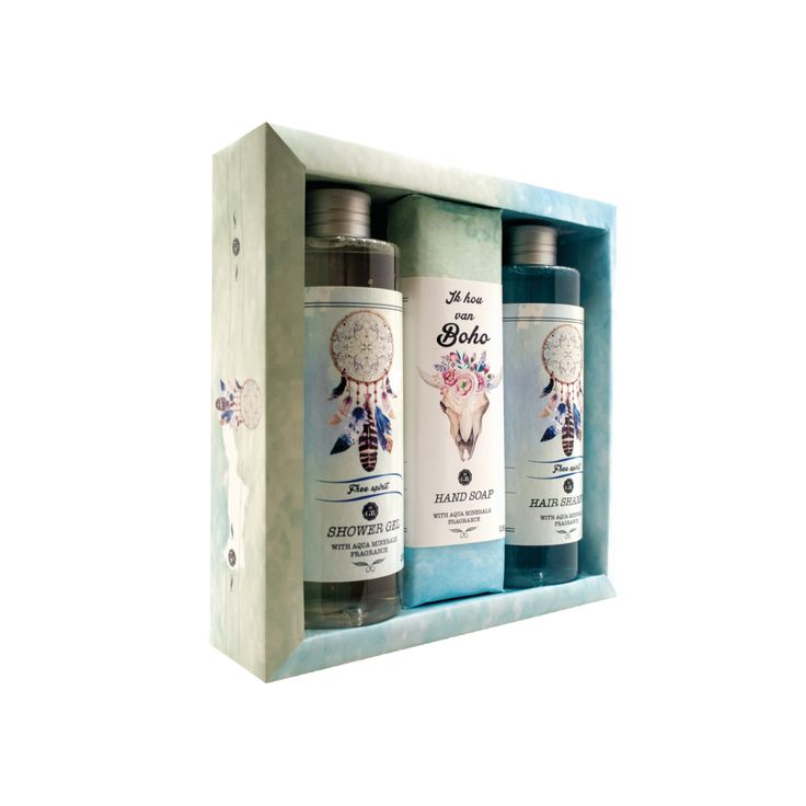 Gift pack Boho (Dead Sea): Shower Gel 250 ml, Hair Shampoo 250 ml, Hand Made Soap 150g. Best gift for her, girls, ladies, fashion lovers..