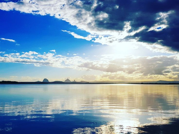 Glasshouse mountains view from pumicstone passage, Bribie Island