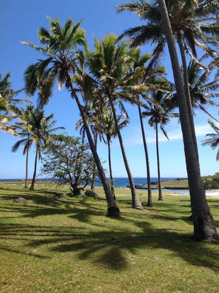 Anakena beach in Rapa Nui National Park (Easter Island), Chile
