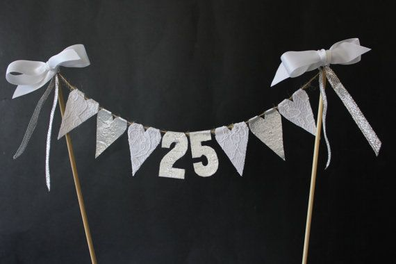 25th silver wedding anniversary cake topper, cake bunting, cake flags, cake banner, silver or glitter hearts with hand cut numbers