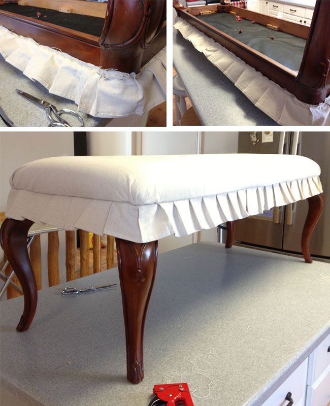 Beautiful Drop Cloth Collage 3 Drop Cloth Covered Bench Love The Pleated Skirt