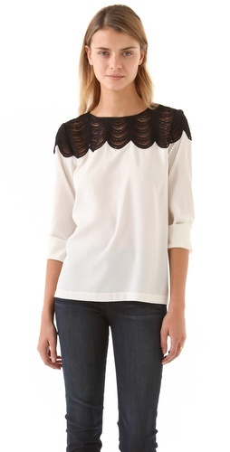 scalloped lace from club monaco: Lace Tops, Cute Tops, Lace Blouses, Monaco Diamonds, Club Monaco, Diamonds Tops, Diamonds Shirts, Cute Blouses, Scallops Lace