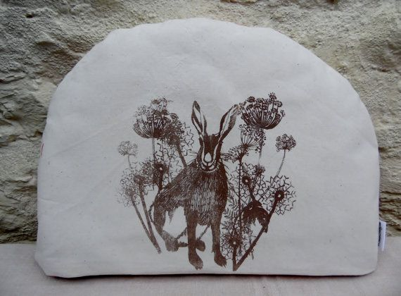 Meadow Hare Tea Cosy Hand Printed Screen by Lindawinegum on Etsy