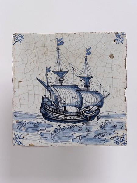 Wall tile, Harlingen, Netherlands, 1650-1700, tin-glazed earthenware with painted decoration in blue, a ship V C.571:2-1923