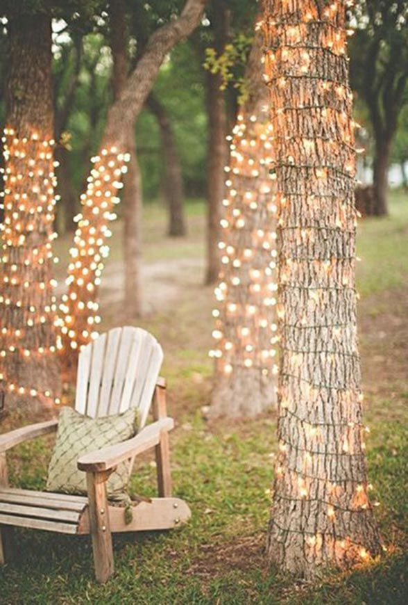 Rustic outdoor wedding lighting idea   #weddinglighting #wedding  http://www.roughluxejewelry.com/