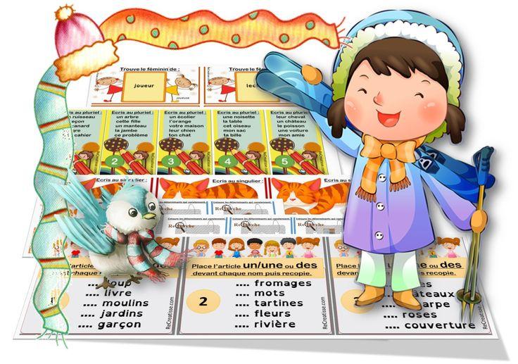 atelier : RECHERCHE LES BONS DETERMINANTS Une enquête au cours de laquelle des élèves doivent rechercher les déterminants qui s'accordent avec les noms proposés ( 18 cartes). Avec auto-correction à placer au dos de chaque carte. ATELIER ENQUETE RECHERCHE LES BONS DETERMINANTS    atelier : PLACE L'ARTICLE 18 listes de 5 mots avec …