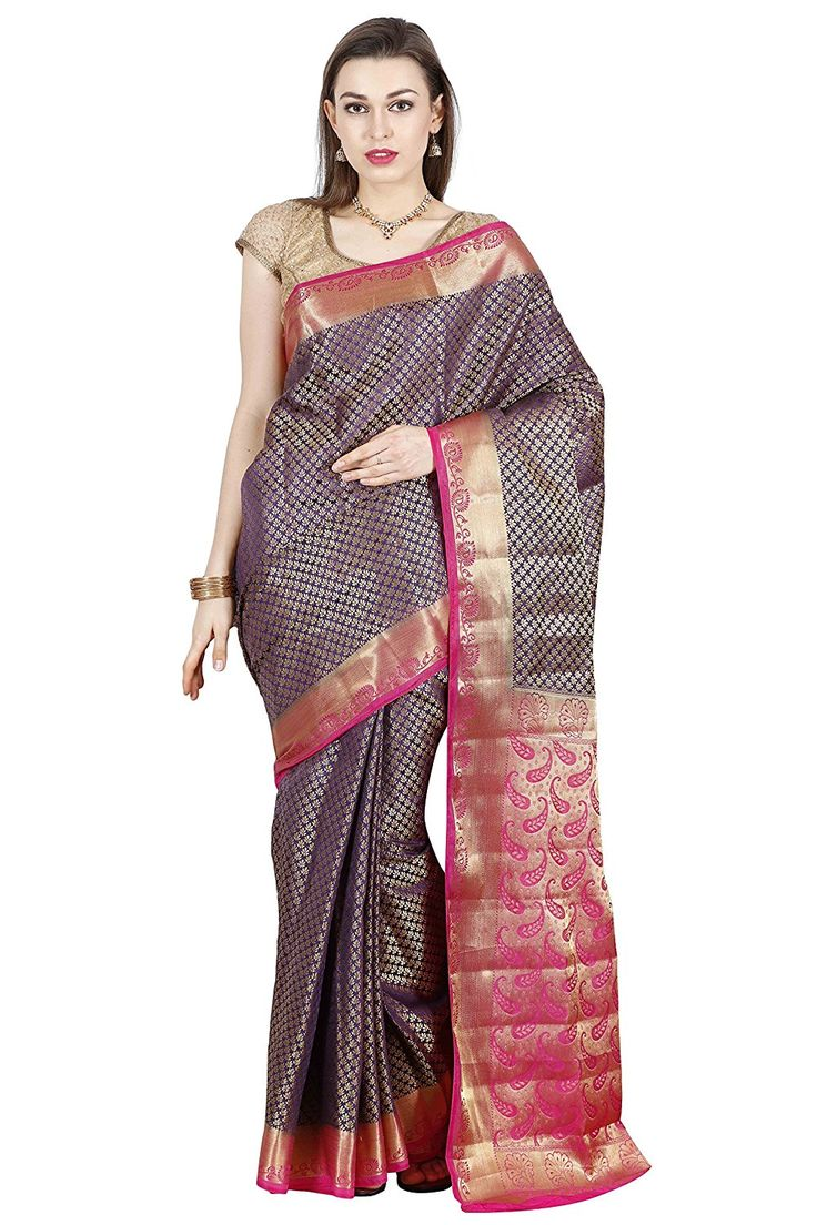 Arars Women's Kanchipuram Silk Saree With Blouse Piece (Sb01 Navy Blue_Navy Blue): Amazon.in: Clothing & Accessories