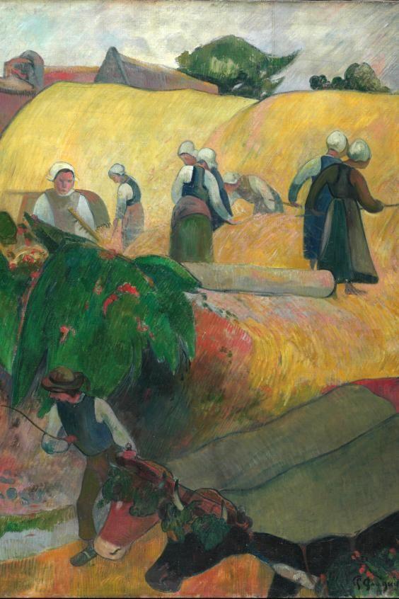 eugène henri paul gauguin(1848-1903), les meules (the haystacks), 1889. oil on canvas, the courtauld gallery, london, uk