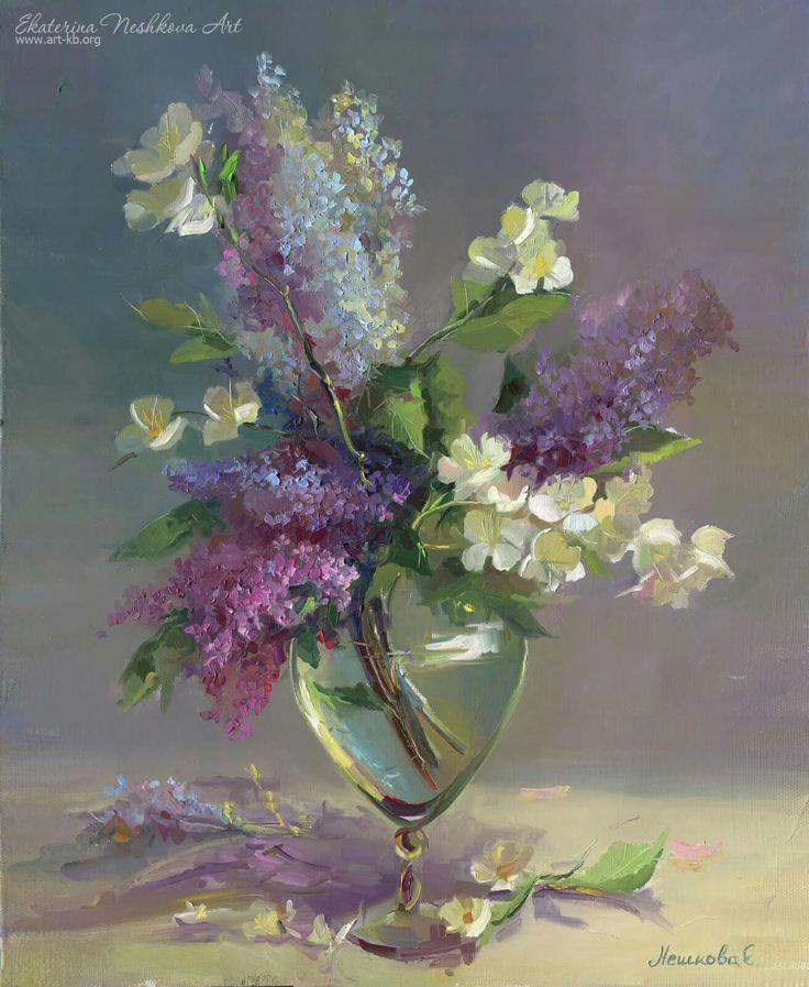 lilac, flowers, painting, glass vase, oilpainting, neshkovaart
