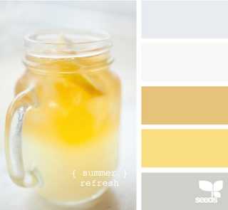 gray white yellow tan: Idea, Color Palettes, Kitchens Colors, Design Seeds, Colors Schemes, Summer Refreshing, Yellow Colors Palettes, Rooms Colors, Colors Inspiration