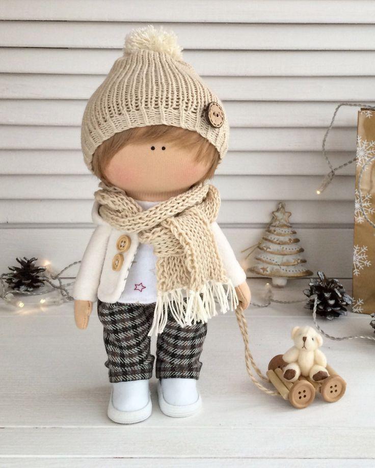 Тряпичная кукла мальчик куклы ткани кукла Текстильная кукла AnnKirillartPlace
