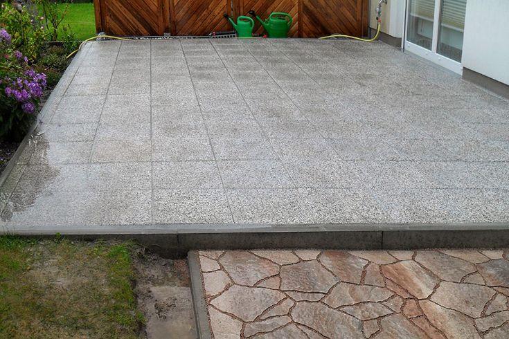 Dauerhafte Verfugung von Quarzitplatten auf der Terrasse