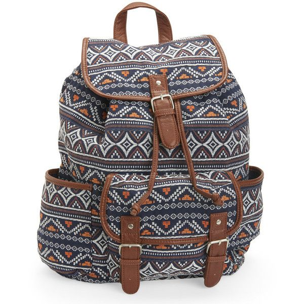Aeropostale Cape Juby Textured Boho Backpack ($25) ❤ liked on Polyvore featuring bags, backpacks, classic navy, day pack backpack, aéropostale, cotton backpack, navy backpack and strap bag