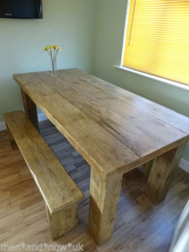 chunky dining table and chairs hand built solid wood dining table reclaimed scaffold boards extra chunky ebay