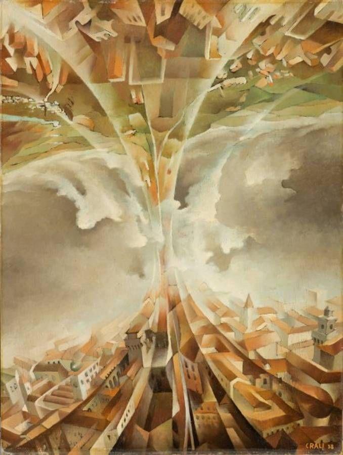 Tullio Crali, Gran volta 1938 (Aeropittura) - Olio su tela, 79,5 x 60,5 cm