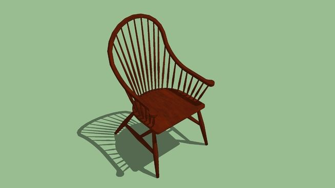 Large preview of 3D Model of Windsor Chair - Continuous Arm
