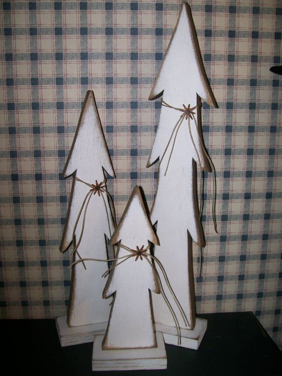 Set of 3 white trees by DenisesKountryPatch on Etsy