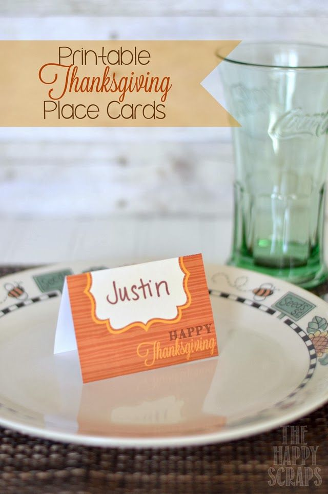 the happy scraps printable thanksgiving place cards