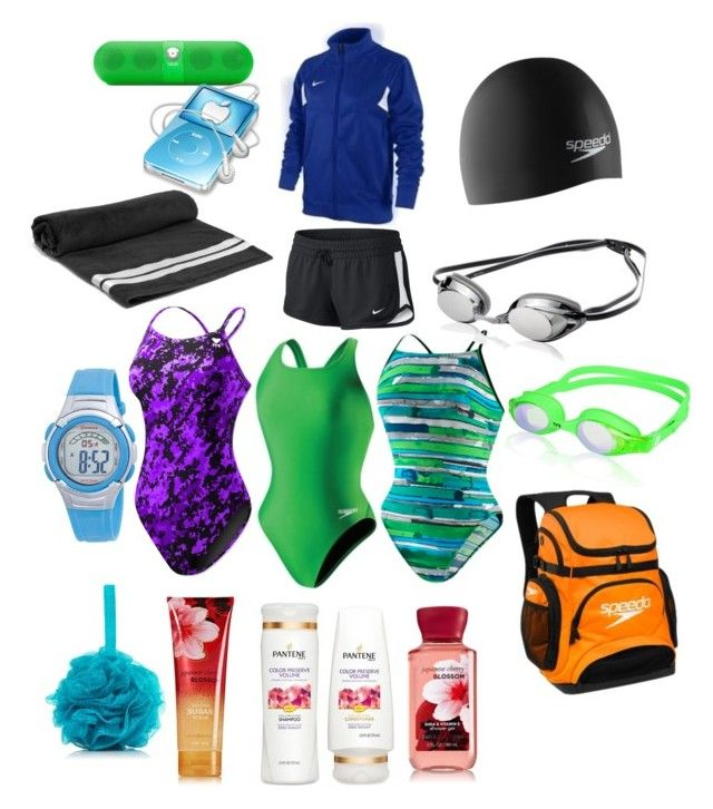 """swim bag"" by allie-bernocco on Polyvore featuring Speedo, NIKE, TYR and Beats by Dr. Dre"