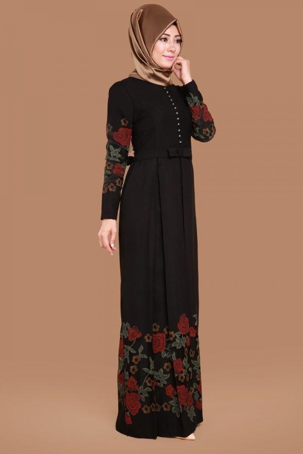 Hakim Yaka Çiçek Baskılı Elbise Siyah Ürün kodu: YGS5061 --> 159.90 TL