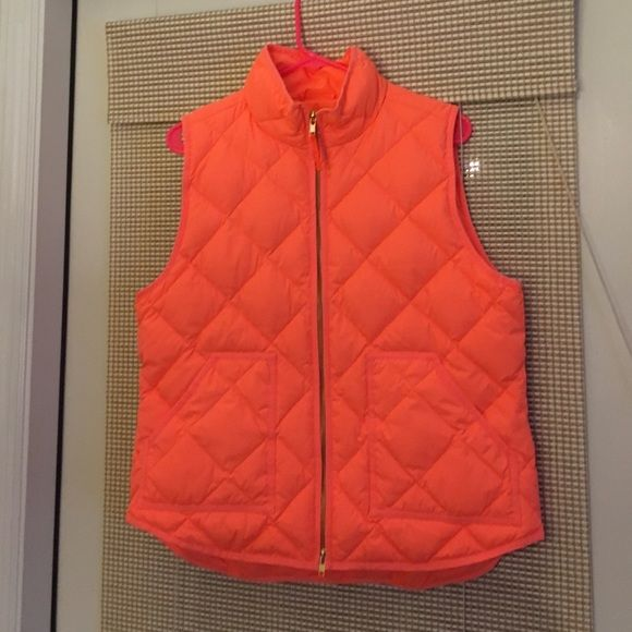 J. Crew Factory puffer vest Neon coral/orange puffer vest from J. Crew Factory. Brand new, with tags, never worn! Perfect for transitioning from winter to spring. J. Crew Jackets & Coats Vests