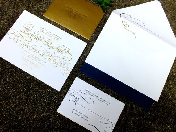 Gold Wedding Invitation Suite PRINTED SAMPLE -- Foil and Letterpress -- Calligraphy Simple Modern Script -- pompdesigns on Etsy, $14.99