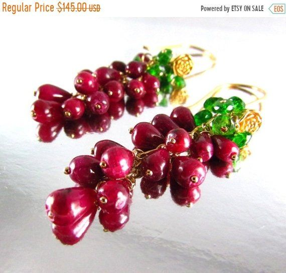 blood red Sterling silver wire wrapped deep ruby red jade briolette necklace