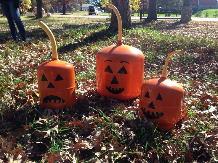 Propane tank art; 3 little pumpkins #propanetankart