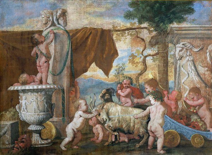 Вакханалия с путти. Никола Пуссен .Национальная галерея старинного искусства, Рим (Galleria nazionale d'arte antica, Roma). 1626. 56x76