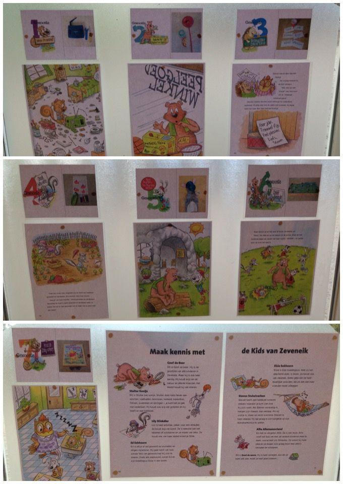 7-gewoonten-hoek: Op het raam hangen per gewoonte: een kopie van het verhaal, een foto van de spullen en de kids van Zeveneik.