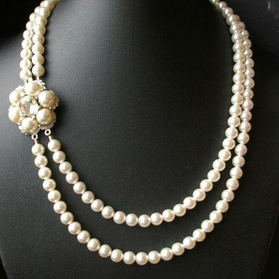 Vintage Style Wedding Jewelry, Pearl Bridal Necklace, Retro Wedding Jewelry, Pearl Flower, Swarovski Pearl Bridal Necklace, MARIE
