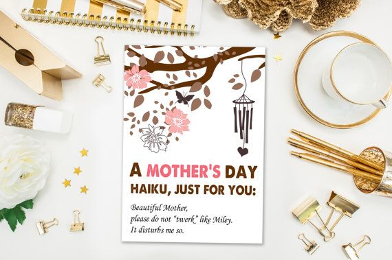 Mother's Day Cards / Funny Mother's Day Card / Haiku / Naughty Card, Twerking, Miley Cyrus / Mothers Day / Printed Card