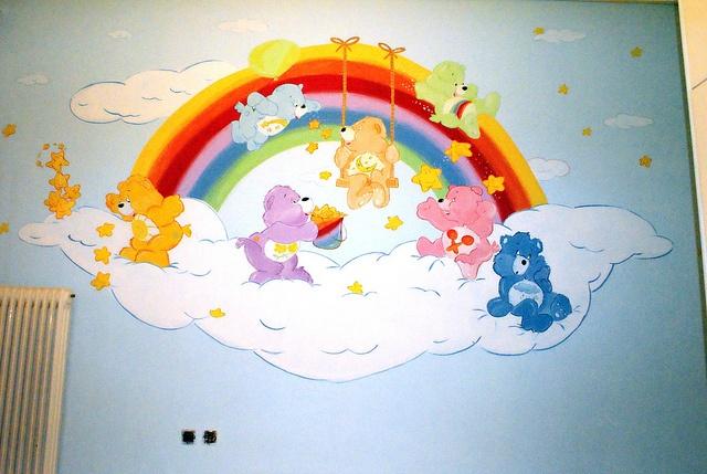 Care bears wall mural baby room care bears theme for Rainbow themed baby nursery