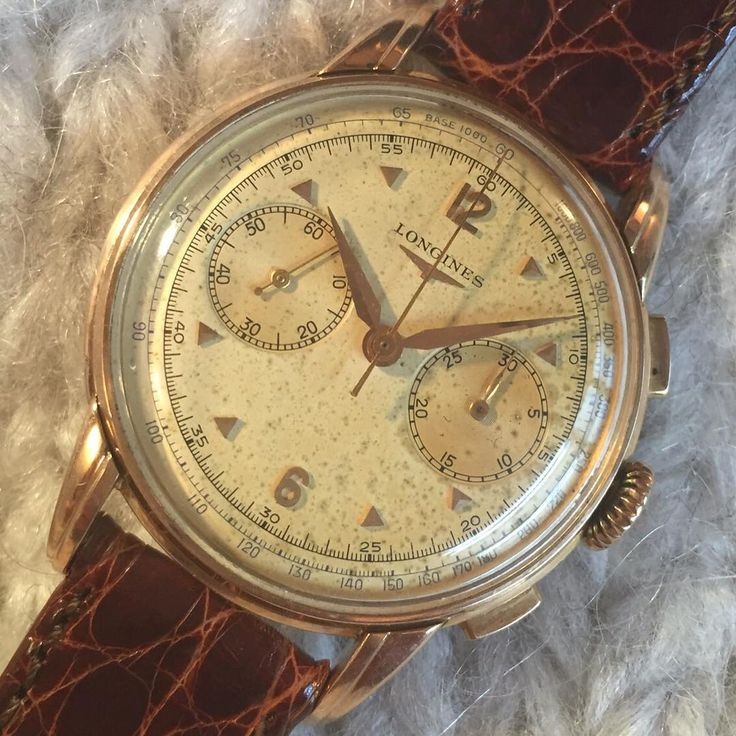 Pink gold #Longines #Chronograph #30ch caliber ref. 5966-7 circa 1952 #anciennewatches #vintagechronograph #flyback #pinkgold #vintagelongines
