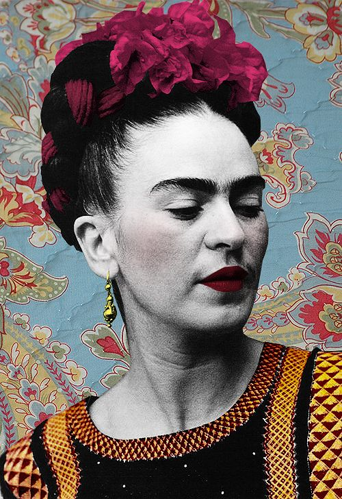 Frida Kahlo, visionary. i like how she has combined colours and a monochrome effect together, the bright colours draw you in (the bright pink flower on her head) and then you see that black and white effect, the lips stand out a lot compared to the face because they are bright red, this would draw the viewer in