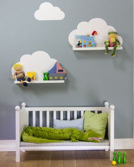 IKEA hack. put bookshelves in front of the clouds on the wall.