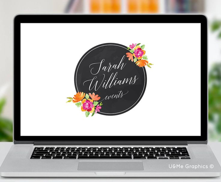 Round floral premade logo, floral logo, premade logo, circle logo, circle premade logo, floral circle logo, u&me graphics premade logos