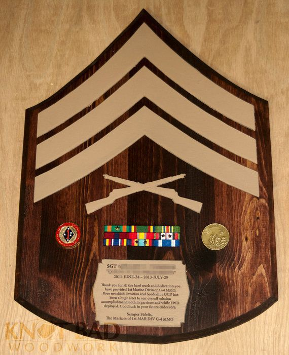 Usmc Custom Wooden Rank Insignia Plaque Kid Chevron And