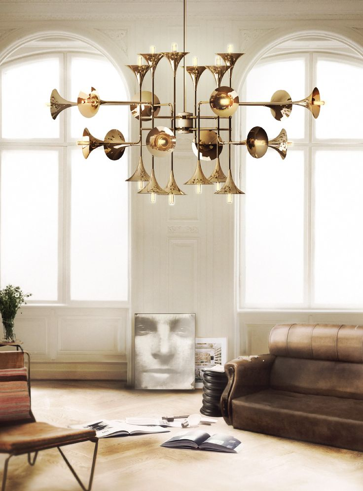 Jazzy Room | A midcentury modern ambiance with a huge golden jazzy chandelier named Botti from DelightFULL. | more inspiring ideas at http://livingroomideas.eu
