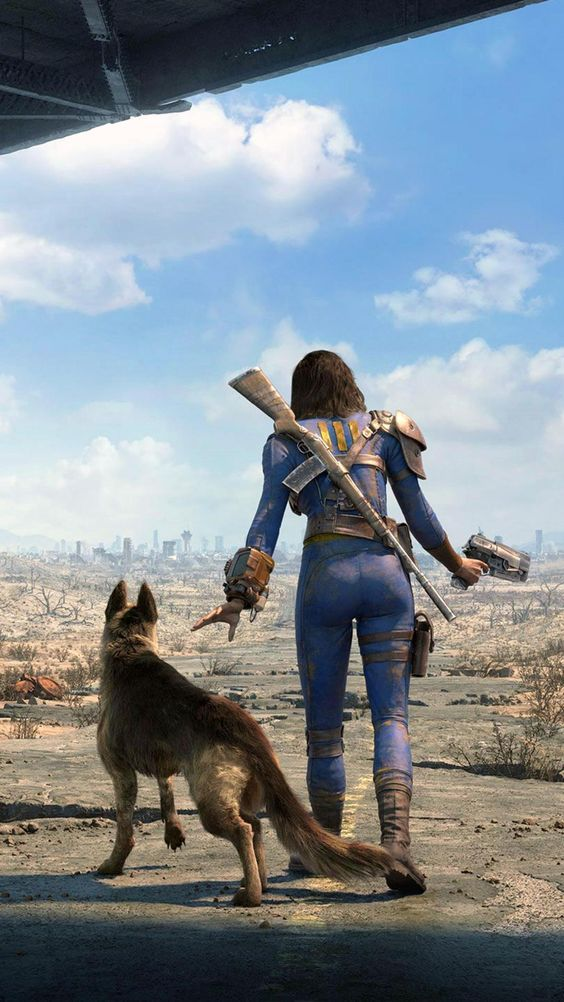 Fallout 4: Nora with Dogmeat