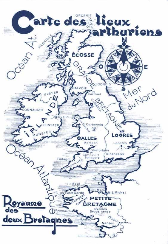 Attention : argument faux !  : Les deux Bretagnes aux temps du Grand Roi Arthur : totalement faux ! La Petite Bretagne représentée ici n'existe que plus de 500 après la période historique arthurienne.