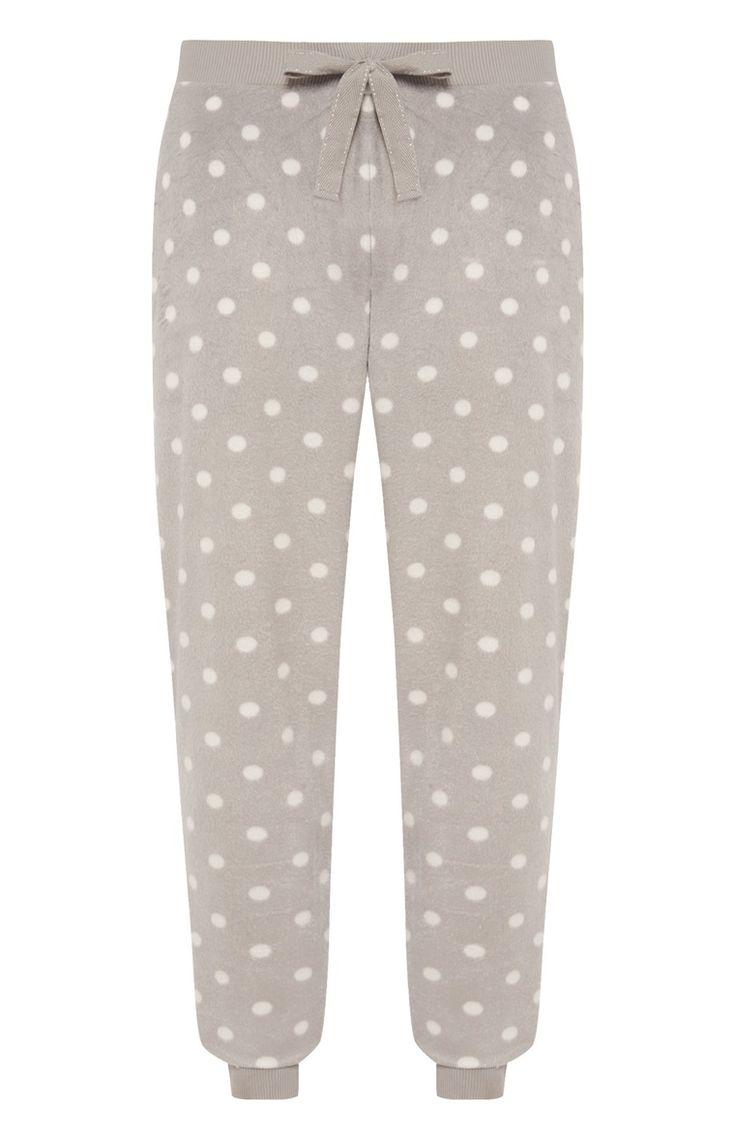 Grijs gestippelde fleece pyjamabroek