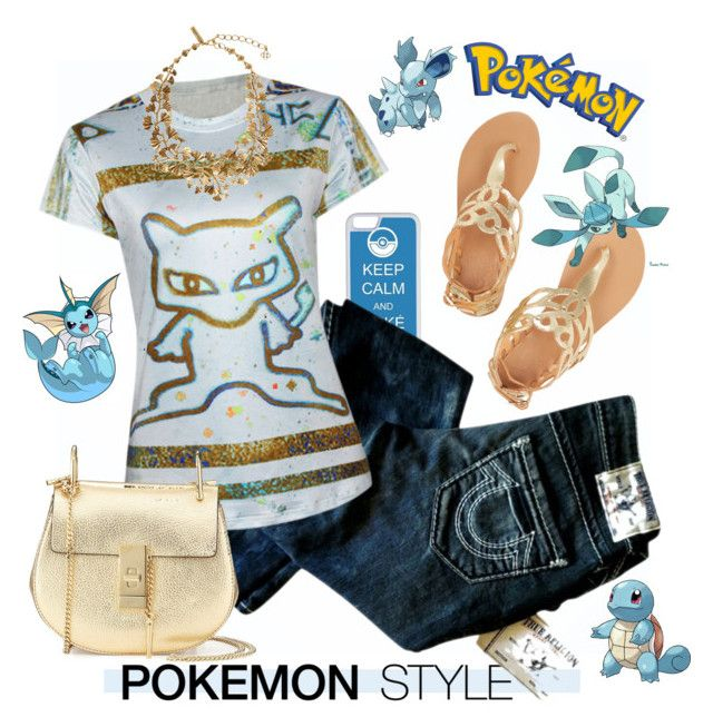 """""""Pokemon Style"""" by esch103 ❤ liked on Polyvore featuring CellPowerCases, True Religion, Chloé, Oscar de la Renta, Ancient Greek Sandals, Pokemon, contestentry and pokemonstyle"""