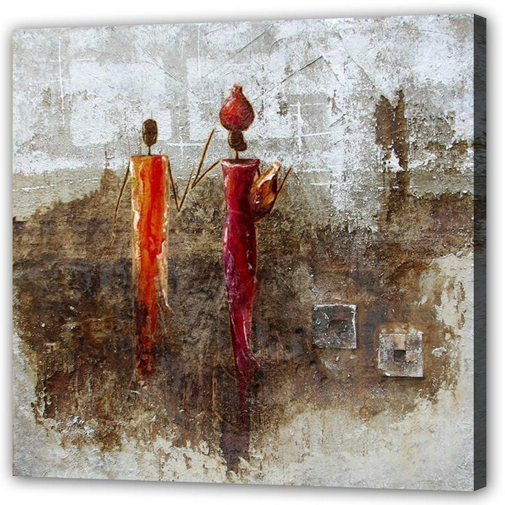 Vacker oljemålning med #Afrika #inspirerad motiv på två afrikanska #kvinnor. Färgerna i #målningen är #röd #gul, #grå och #brun. Stilen är något #abstrakt och tavlan passar i alla moderna hem och kontor.