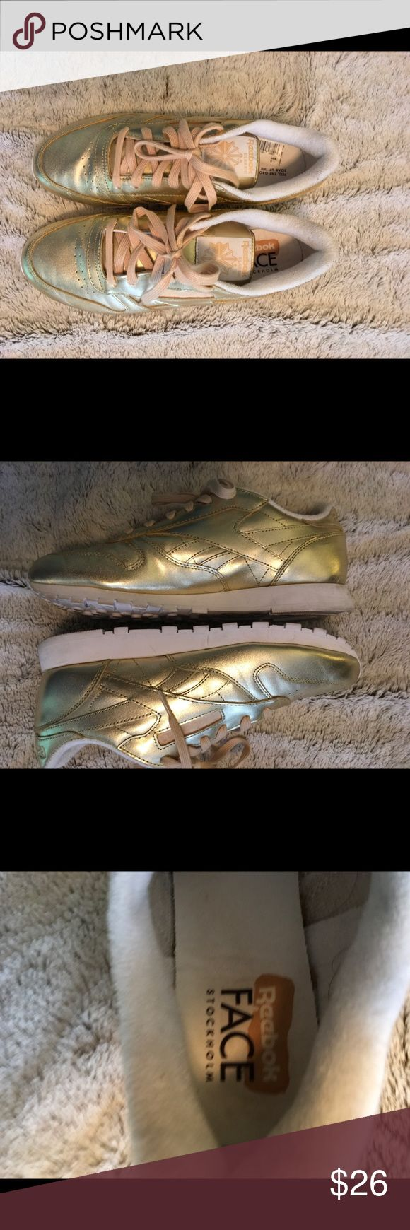 Gold reebok sneakers Size 9 excellent condition Reebok Shoes Sneakers