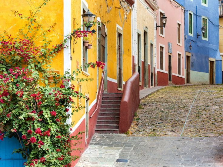 Multi-colored houses are traditional to Guanajuato. Image by Danita Delimont / Gallo Images / Getty Images